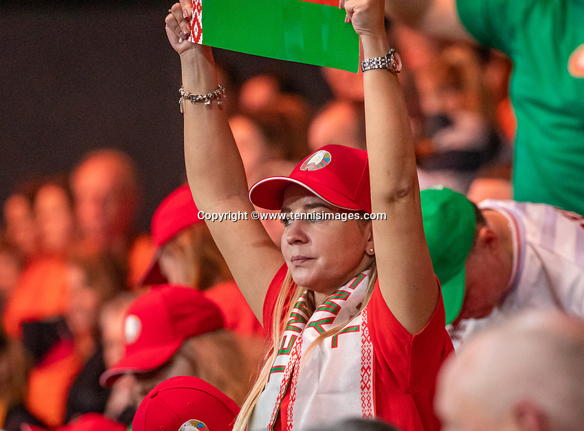 The Hague, The Netherlands, Februari 8, 2020,    Sportcampus, FedCup  Netherlands -  Balarus, Seccond match on Saturday:  Belarus supporters<br /> Photo: Tennisimages/Henk Koster