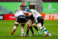 28th March 2021; Mattoli Woods Welford Road Stadium, Leicester, Midlands, England; Premiership Rugby, Leicester Tigers versus Newcastle Falcons; Tommy Reffell of Leicester Tigers is stopped by Mark Wilson and Will Welch of Newcastle Falcons
