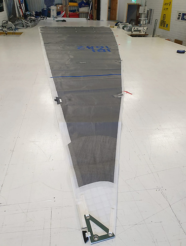 An X332 mainsail on the Quantum loft floor in Galway