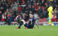 Dejection for West Ham United's Declan Rice at the end of the game<br /> <br /> Photographer Rob Newell/CameraSport<br /> <br /> The Premier League - Arsenal v West Ham United - Saturday 7th March 2020 - The Emirates Stadium - London<br /> <br /> World Copyright © 2020 CameraSport. All rights reserved. 43 Linden Ave. Countesthorpe. Leicester. England. LE8 5PG - Tel: +44 (0) 116 277 4147 - admin@camerasport.com - www.camerasport.com