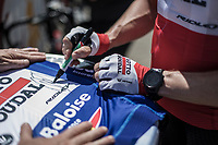 Pre Stage, André Greipel (GER/Lotto Soudal), winner of the first 2 stages in this Baloise Belgium Tour 2018 signing a blue GC jersey. <br /> <br /> <br /> Baloise Belgium Tour 2018<br /> Stage 4:  Wanze - Wanze 147.3km