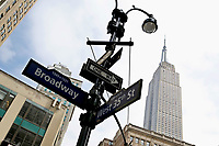 NEW YORK - NEW YORK - MARCH 25: View of Broadway Street sign on March 25, 2021 in New York. New York's Mayor Bill de Blasio says that the city plans to create a Coronavirus vaccination site on Broadway  reserved for theater  workers in a reopening effort. (Photo by Emaz/VIEWpress)