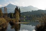 Austria, Tyrol, near Kitzbuhel: idyllic Schwarzsee (Black Lake) on the outskirts of Kitzbuhel, at background mountain Kitzbuheler Horn