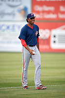 Potomac Nationals pitcher Jorge Pantoja (45) warms up the outfielder in between innings during the first game of a doubleheader against the Lynchburg Hillcats on June 9, 2018 at Calvin Falwell Field in Lynchburg, Virginia.  Lynchburg defeated Potomac 5-3.  (Mike Janes/Four Seam Images)