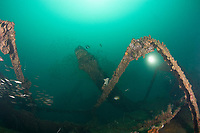 diver explores the wreck of a 100 m long American LST (Landing Ship - Tank) sunk at the end of WWII. The wreck sits upright at a depth of 28-35 meters of water in Ilanin Bay, within Subic Bay, Philippines