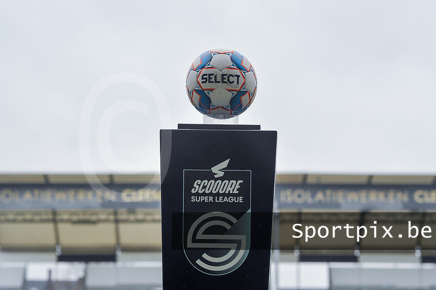 match ball pictured before a female soccer game between Eendracht Aalst and OHL on the 13 th matchday of the 2020 - 2021 season of Belgian Scooore Womens Super League , Saturday 6 th of February 2021  in Aalst , Belgium . PHOTO SPORTPIX.BE | SPP | STIJN AUDOOREN