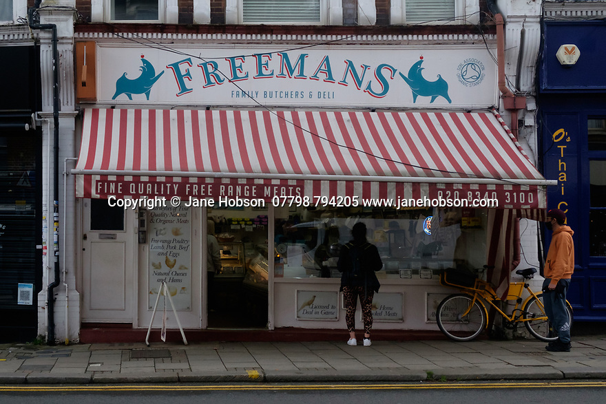 The shop front of Freemans Butchers, Topsfield Road, Crouch End, during second lockdown.