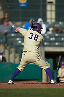 Luke Robinson (38) of the Western Carolina Catamounts at bat against the Saint Joseph's Hawks at TicketReturn.com Field at Pelicans Ballpark on February 23, 2020 in Myrtle Beach, South Carolina. The Hawks defeated the Catamounts 9-2. (Brian Westerholt/Four Seam Images)