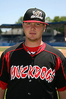 June 16, 2009:  Daniel Calhoun of the Batavia Muckdogs poses for a head shot before the teams practice at Dwyer Stadium in Batavia, NY.  The Batavia Muckdogs are the NY-Penn League Single-A affiliate of the St. Louis Cardinals.  Photo by:  Mike Janes/Four Seam Images