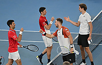 5th February 2021; Melbourne, Australia;   Australian Open 2021 ATP, Tennis Mens Cup Melbourne German Team beats Serbia to qualify for the Semifinal against Russia Jan Lennard Struff, Alexander Struff , Kevin Krawietz ,Andreas Mies and Team Captain Mischa Zverev Jan-Lennard Struff and Alexander Zverev winning the deciding Doubles