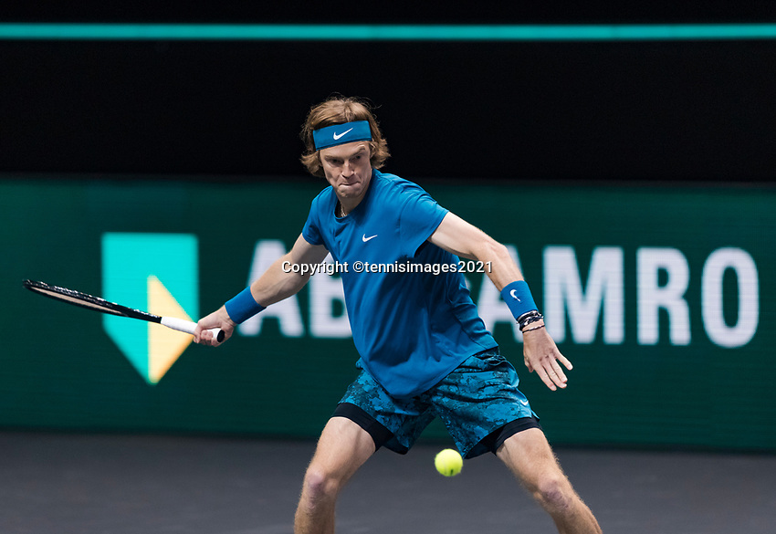 Rotterdam, The Netherlands, 28 Februari 2021, ABNAMRO World Tennis Tournament, Ahoy, First round doubles: Andrey Rublev (RUS) <br /> Photo: www.tennisimages.com/henkkoster
