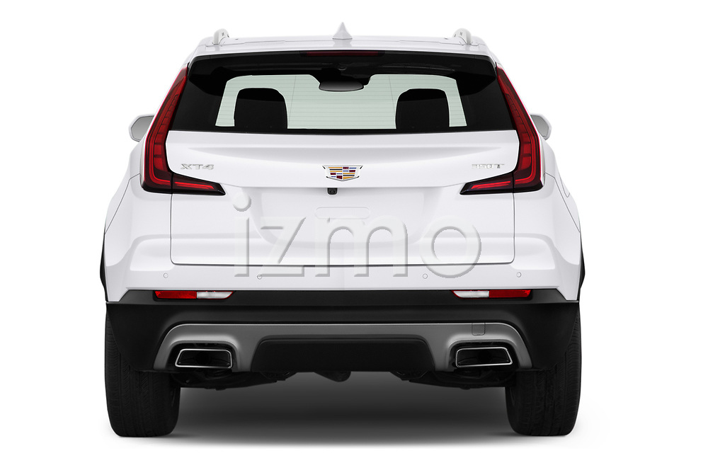 Straight rear view of a 2020 Cadillac XT4 Premium Luxury 5 Door SUV stock images