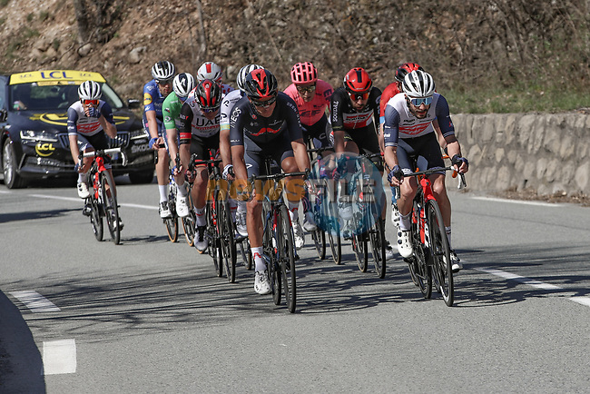 The breakaway climbs La Colmiane during Stage 7 of Paris-Nice 2021, running 119.2km from Le Broc to Valdeblore La Colmiane, France. 13th March 2021.<br /> Picture: ASO/Fabien Boukla | Cyclefile<br /> <br /> All photos usage must carry mandatory copyright credit (© Cyclefile | ASO/Fabien Boukla)