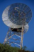 Satellite dish on a communications tower, Bastia, Corsica, France.