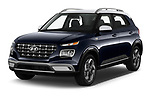 2020 Hyundai Venue Denim 5 Door SUV Angular Front automotive stock photos of front three quarter view