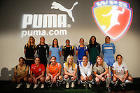 A group shot of 14 WPS players wearing their new PUMA home and away uniforms during the unveiling of the Women's Professional Soccer uniforms at the Event Place in Manhattan, NY, on February 24, 2009. Photo by Howard C. Smith/isiphotos.com