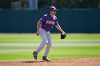 LSU Tigers shortstop Josh Smith (4) on defense against the Georgia Bulldogs at Foley Field on March 23, 2019 in Athens, Georgia. The Bulldogs defeated the Tigers 2-0. (Brian Westerholt/Four Seam Images)