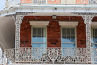 New Orleans, Louisiana.  French Quarter.  Emblem of the Baroness Pontalba in Cast-iron Grillwork of the Lower Pontalba Building, Built 1851.