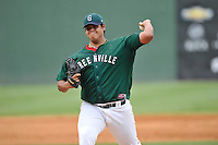 Pitcher Dedgar Jimenez (47) of the Greenville Drive delivers a pitch in a game against the Charleston RiverDogs on Sunday, August 16, 2015, at Fluor Field at the West End in Greenville, South Carolina. Charleston won, 6-2. (Tom Priddy/Four Seam Images)