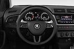 Car pictures of steering wheel view of a 2018 Skoda Fabia Ambition 5 Door Hatchback Steering Wheel