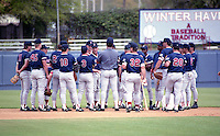 Boston Red Sox team meeting with Butch Hobson during spring training circa 1992 at Chain of Lakes Park in Winter Haven, Florida.  (MJA/Four Seam Images)