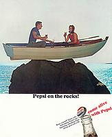 Pepsi on the rocks! Ad, BBDO, 1966. Photo by John G. Zimmerman.