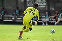 LAKE BUENA VISTA, FL - JULY 13: Bill Hamid #24 of DC United rolls the ball during a game between D.C. United and Toronto FC at Wide World of Sports on July 13, 2020 in Lake Buena Vista, Florida.