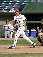 April 21, 2004:  Brian Dopirak of the Lansing Lugnuts, Low-A Midwest League affiliate of the Chicago Cubs, during a game at Oldsmobile Park in Lansing, MI.  Photo by:  Mike Janes/Four Seam Images