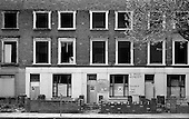 Partly gutted Victorian terrace in Great Western Road awaiting demolition after the eviction of squatters, 1977.