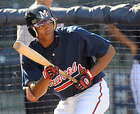 12 April 2008: Infielder Javier Guzman (13) of the Mississippi Braves, Class AA affiliate of the Atlanta Braves, in a game against the Mobile BayBears at Trustmark Park in Pearl, Miss. Photo by:  Tom Priddy/Four Seam Images