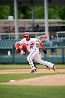 Harrisburg Senators left fielder Juan Soto (10) runs the bases during the first game of a doubleheader against the New Hampshire Fisher Cats on May 13, 2018 at FNB Field in Harrisburg, Pennsylvania.  New Hampshire defeated Harrisburg 6-1.  (Mike Janes/Four Seam Images)