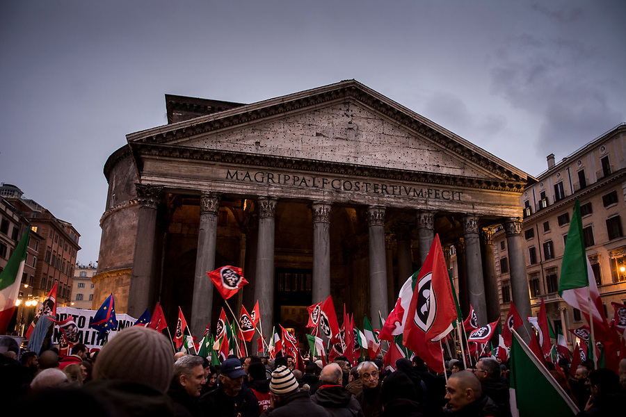 The final election rally by the neofascist group Casa Pound in Rome, March 1st 2018.