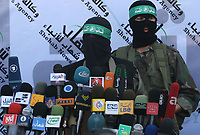 """Media spokesman for the Qassam Brigades, military wing of Hamas, in a press conference threatening if the Israeli army attempted to invade the Gaza Strip, September 13, 2007.""""photo by Fady Adwan"""""""