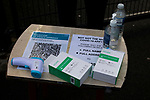 Marine 1 Hyde United 0, 12/12/2020. Marine Travel Arena, FA Trophy First Round. Coronavirus checking equipment for officials on a table at the ground before Marine play Hyde United in an FA Trophy tie at the Marine Travel Arena, formerly known as Rossett Park, in Crosby. Due to coronavirus regulations which had suspended league games, the Merseysiders' only fixtures were in cup competitions, including their forthcoming tie against Tottenham Hotspur in the FA Cup third round. Marine won the game by 1-0, watched by a permitted capacity of 400, with the visitors having two men sent off in the second half. Photo by Colin McPherson.