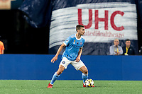 FOXBOROUGH, MA - SEPTEMBER 11: James Sands #16 of New York City FC looks to pass during a game between New York City FC and New England Revolution at Gillette Stadium on September 11, 2021 in Foxborough, Massachusetts.