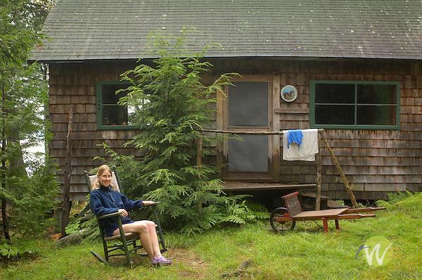 Katrina Fleck at Fleck Cabin, Camp Allagash