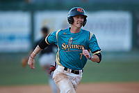 Kye Andress (7) (Catawba Valley CC) of the Mooresville Spinners hustles towards third base against the Concord A's at Moor Park on July 31, 2020 in Mooresville, NC. The Spinners defeated the Athletics 6-3 in a game called after 6 innings due to rain. (Brian Westerholt/Four Seam Images)
