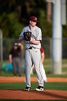 Minnesota Golden Gophers relief pitcher Patrick Fredrickson (22) gets ready to deliver a pitch during a game against the Boston College Eagles on February 23, 2018 at North Charlotte Regional Park in Port Charlotte, Florida.  Minnesota defeated Boston College 14-1.  (Mike Janes/Four Seam Images)
