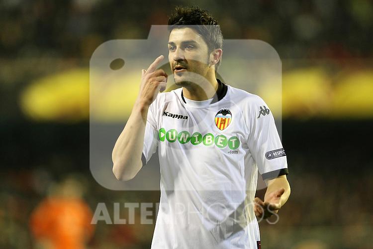 Valencia's David Villa during UEFA Europa League match. March 11, 2010. (ALTERPHOTOS/Acero)