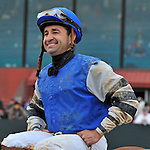 Jockey Joe Bravo is all smiles after riding Junebugred to victory in the 5th running of the Smarty Jones stakes Monday afternoon at Oaklawn Park in Hot Springs.