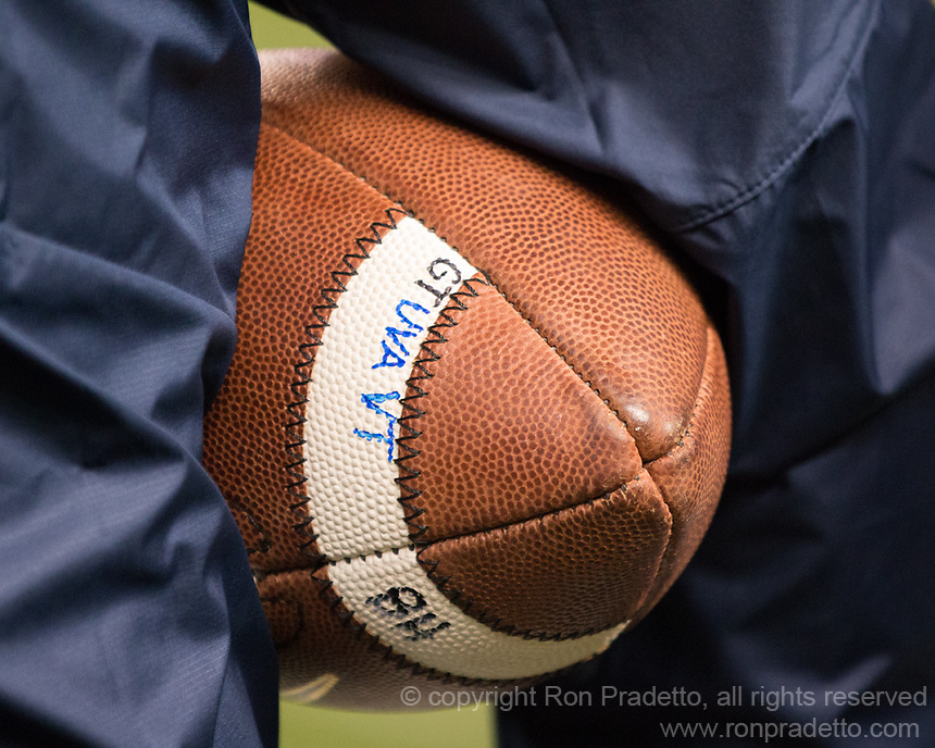 A game used Pitt football is pictured with GT, UVA and VT marked on it along with BH. The Virginia Tech Hokies defeated the Pitt Panthers 39-36 on October 27, 2016 at Heinz Field in Pittsburgh, Pennsylvania.
