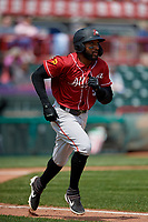 Altoona Curve Bralin Jackson (5) runs to first base during an Eastern League game against the Erie SeaWolves and on June 4, 2019 at UPMC Park in Erie, Pennsylvania.  Altoona defeated Erie 3-0.  (Mike Janes/Four Seam Images)