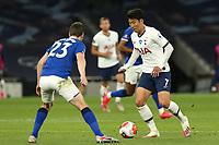 Son Heung-Min of Tottenham Hotspur and Seamus Coleman of Everton during Tottenham Hotspur vs Everton, Premier League Football at Tottenham Hotspur Stadium on 6th July 2020