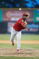 Johnson City Cardinals relief pitcher Edwar Ramirez (18) delivers a pitch to the plate against the Burlington Royals at Burlington Athletic Stadium on July 15, 2018 in Burlington, North Carolina. The Cardinals defeated the Royals 7-6.  (Brian Westerholt/Four Seam Images)
