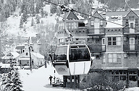 A commuter gondola connects the towns of Telluride to Mountain Village. Colorado.