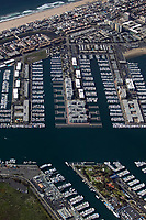 aerial photograph of Marina del Rey, Los Angeles County, California; Venice Beach is in the background