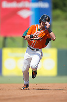 Kyle Barrett (19) of the Greensboro Grasshoppers hustles towards third base against the Kannapolis Intimidators at Intimidators Stadium on July 17, 2016 in Greensboro, North Carolina.  The Intimidators defeated the Grasshoppers 3-2 in game one of a double-header.  (Brian Westerholt/Four Seam Images)