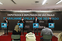 SÃO PAULO, SP, 10.06.2021 - POLÍTICA-SP - Jean Carlo Gorinchteyn, Secretário Estadual de Saúde de São Paulo, Carlão Pignatari, Deputado Estadual (PSDB/SP) e Presidente da Assembléia Legislativa do Estado de São Paulo, Cauê Macris, Secretário Estadual da Casa Civil de São Paulo, e Luiz Fernando Teixeira Ferreira, Deputado Estadual (PT/SP), anunciam investimentos na área da Saúde de 427 municípios paulistas, incluindo a capital São Paulo, na Assembléia Legislativa do Estado de São Paulo - ALESP, nesta quinta-feira, 10. (Foto Charles Sholl/Brazil Photo Press)