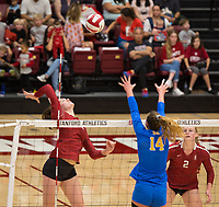STANFORD, CA - NOVEMBER 17: Stanford, CA - November 17, 2019: Audriana Fitzmorris,Kathryn Plummer at Maples Pavilion. #4 Stanford Cardinal defeated UCLA in straight sets in a match honoring neurodiversity. during a game between UCLA and Stanford Volleyball W at Maples Pavilion on November 17, 2019 in Stanford, California.