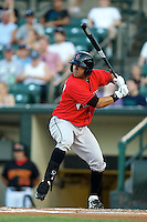 Indianapolis Indians outfielder Christian Marrero #3 at bat during a game against the Empire State Yankees at Frontier Field on August 4, 2012 in Rochester, New York.  Empire State defeated Indianapolis 9-8 in ten innings.  (Mike Janes/Four Seam Images)